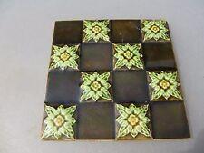 Antique Ceramic Tile Floral Nouveau Architectural Vintage Floral England Gilt