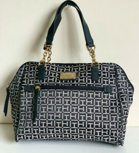 NEW-TOMMY-HILFIGER-BLACK-NATURAL-BOWLER-GOLD-CHAIN-SATCHEL-TOTE-BAG-PURSE-85