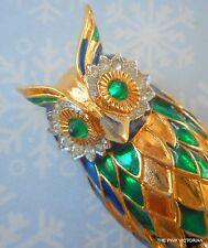 "JOMAZ Rhinestone 3"" OWL brooch PIN with extraordinary ENAMEL & GREEN EYES PN590"