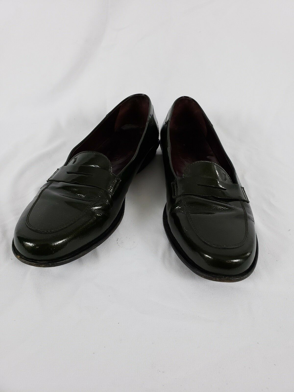Tod's driving penny loafers green patent leather mens or womens