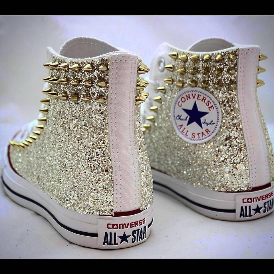 Converse All Star vit med larerali i glitter och dubbar