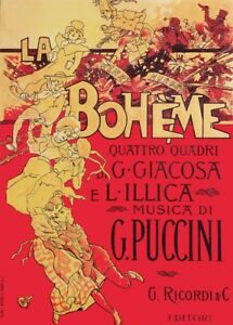 Details about Giacomo Puccini LA BOHEME Adolfo Hohenstein Opera Vintage  Classical Music Poster