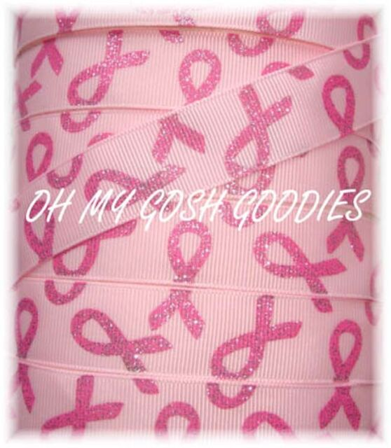 """5 Yards 7//8/"""" PINK BREAST CANCER AWARENESS RIBBONS GROSGRAIN Ribbon 4 HAIRBOW"""