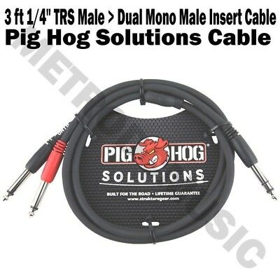 "Pig Hog 3 ft Dual 1//4/"" Mono Male to 1//4/"" Mono Male Red Black Coded for Stereo"