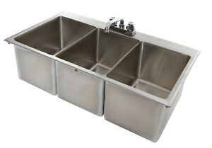 Details about 3 Bowl Stainless Steel Commercial Drop In Sink