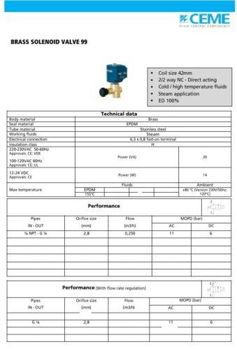 "CEME 9934 1//4/"" Válvula De Vapor 230//50v 2.8mm Repuestos Disponibles Plancha de vapor de agua de prensa"