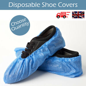500X Disposable Plastic Blue OverShoes Boot Covers Anti Slip Cleaning Protectors