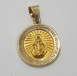 14k yellow gold medallion virgin mary guadalupe charm pendant image is loading 14k yellow gold medallion virgin mary guadalupe charm aloadofball Choice Image