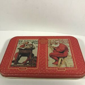 Norman Rockwell Saturday Evening Post Santa Claus Card Decks Collectors Tin