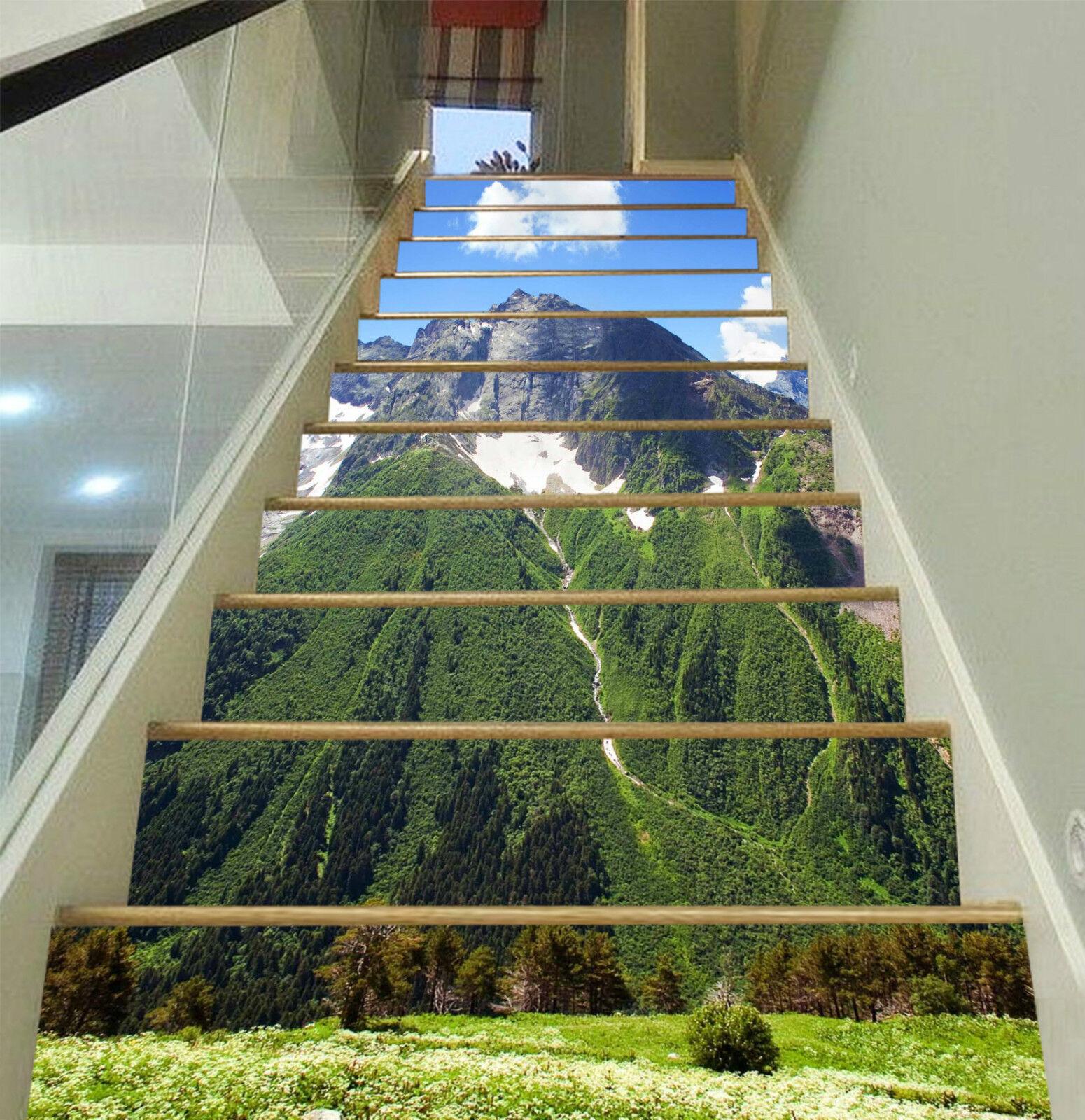 3D Grn Berg 909 Stair Risers Dekoration Fototapete Vinyl Aufkleber Tapete DE