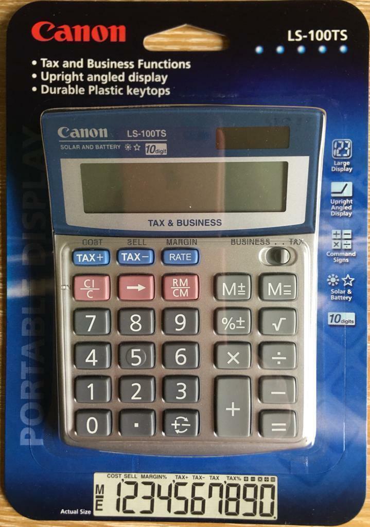 OEM Canon LS-100TS Tax Business 10-Digit Dual Power Solar Desktop Calculator F//S