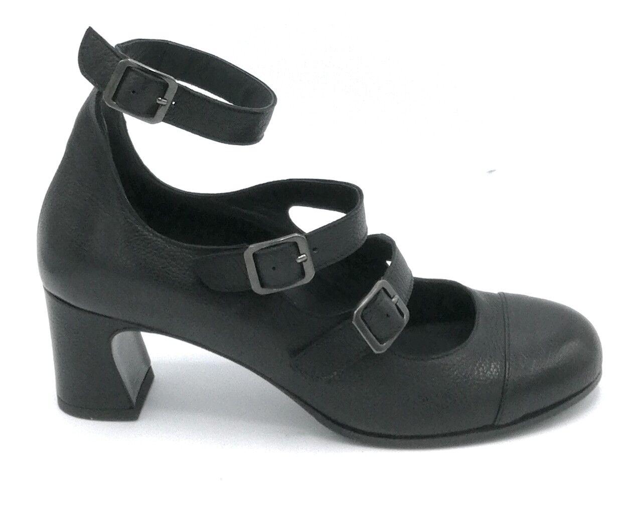 Le Trallerine 305 sandale cuir buffle noir courroies talon 7 cm