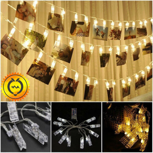 10//20//30 LED Hanging Picture Photo Peg Clip Shape Fairy Wire String Lights Chain