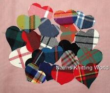 20 - Multi-Coloured - Tartan - Fabric - Cut Out - Applique - Scottish Hearts