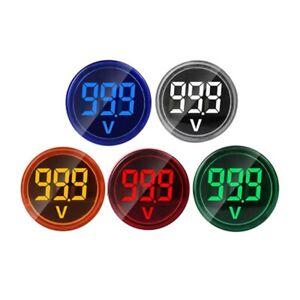 5pcs//set 22mm DC 6-100V Voltmeter Round Mini LED Digital Voltage Indicator meter