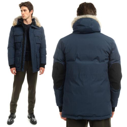 RRP €1090 BELSTAFF Down Parka Jacket Size 48 / M Coyote Fur Trim Elbow Patches   eBay