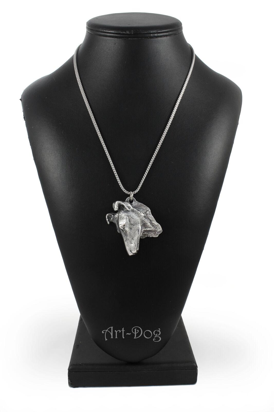 Colley à poil court- court- court- collier en argento plaqué sur une chaîne en argento ArtDog FR 344ed6