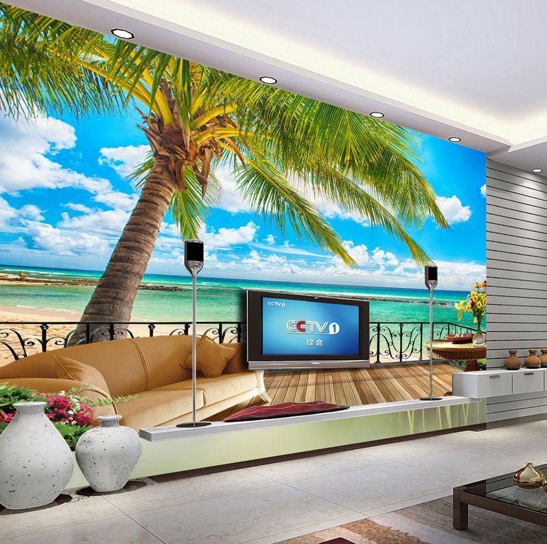 3D spiaggia Arts Parete Murale Foto Carta da parati immagine sfondo muro stampa