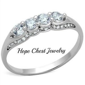 Women S Antique Sterling Silver 4 Cz Anniversary Wedding