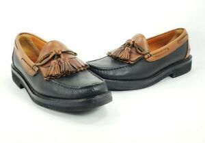 E-T-Wright-Leather-Tassel-Kiltie-Loafers-Brown-Black-Vibram-Soles-Mens-10-5-B