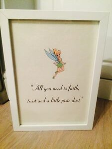 Disney Peter Pan Tinker Bell Pixie Dust Quote Black White A4 Print