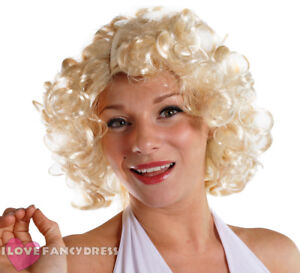 1950 S Film Star Blonde Curly Wig Hollywood Celebrity Fancy Dress