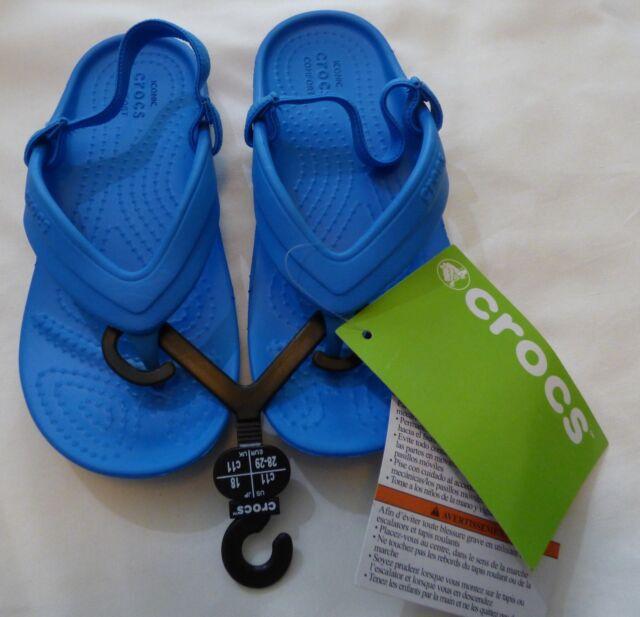 a76955f10940 CROCS Childs Blue Ocean Classic Flip K Sandals with Heal Strap Size 11 13  J1 J3