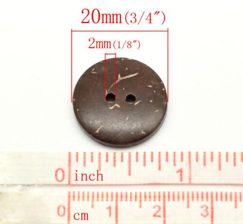 10 Noix de Coco délicate Natural Shell Boutons 20 mm Couture Artisanat Tricot