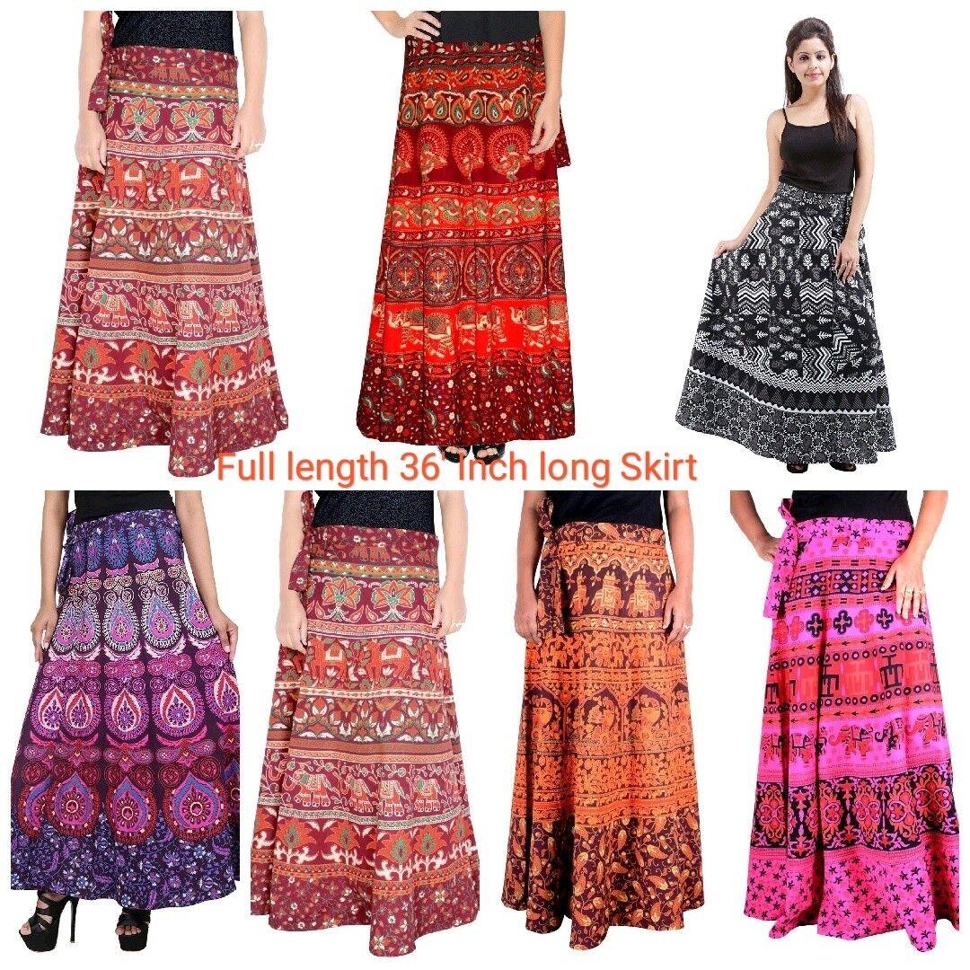 Vintage Wholesale Lot of 10 P Indian Women Floral Cotton Long Wrap Around Skirt