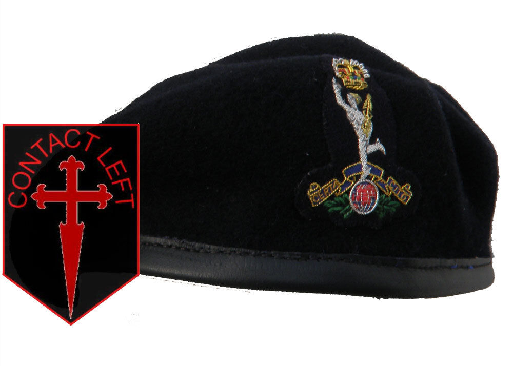 NEW Royal Signals Officers Beret + Cap Badge All Sizes (High Quality Navy bluee