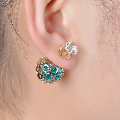 1Pair Women Double Sides Hollow Gold Plated Crystal Ball Ear Studs Earrings