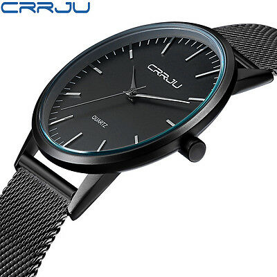 CRRJU Men's Fashion Metal Mesh Strap Quartz Sport Waterproof Wrist Watch Gift