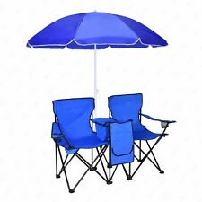 Folding Double Sports Chair W/Umbrella Table Cooler Beach Picnic Portable
