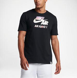 Nike MEN/'S Sportswear Air Force 1 Tee Shirt SIZE LARGE BRAND NEW Black