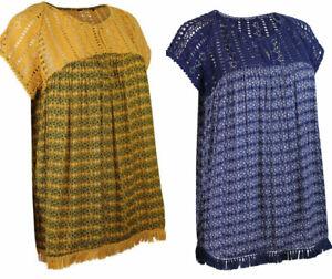 Womens-Ladies-Navy-Mustard-Short-Sleeve-Crochet-Trim-Boho-Empire-Top