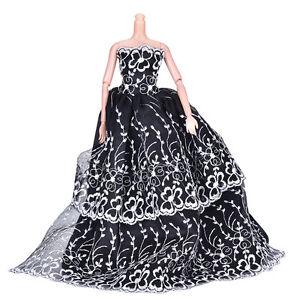 Nero-Wedding-Dress-Princess-Giocattoli-per-bambini-per-Barbi-con-fiore-bianco-CR