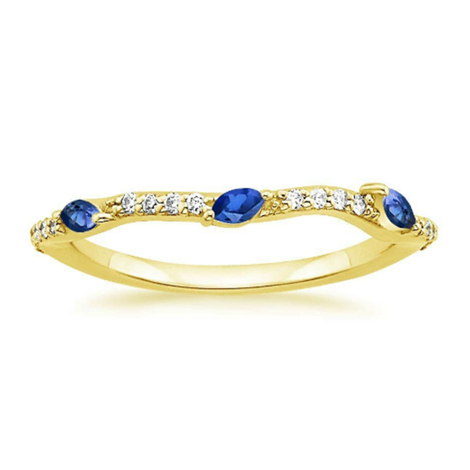 14K Yellow gold Diamond Rings 0.25 Ct Marquise Natural bluee Sapphire Ring Size 4