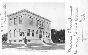 No-1-Public-Library-Nevada-Iowa-1905-Vintage-Postcard