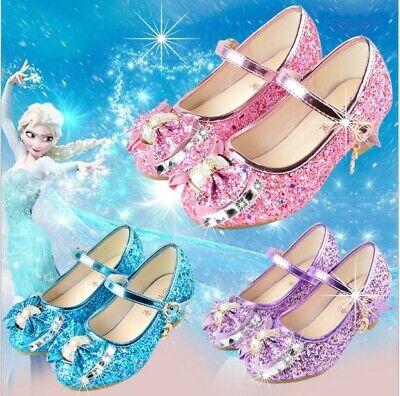 Eiskönigin Elsa Kostüm Absatz Schuhe Prinzessin Kinder Mädchen Bling Schuhe