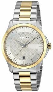 GUCCI-G-Timeless-Silver-Dial-Men-039-s-Watch-Two-Tone-Stainless-YA126450