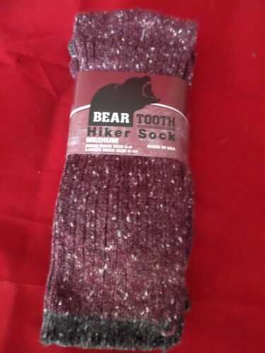 2 Pair Womens Bear Tooth Peformance Cotton Ragg Hiker Sock 6-10 Made in USA