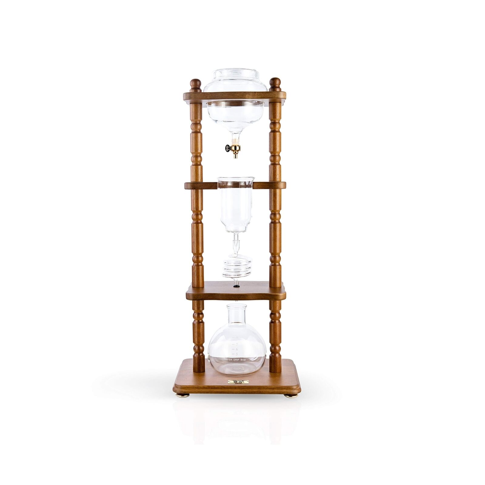 Yama Glass 6-8 Cup Cold Drip Maker Curved marron Stain Wood Frame Coffee Maker