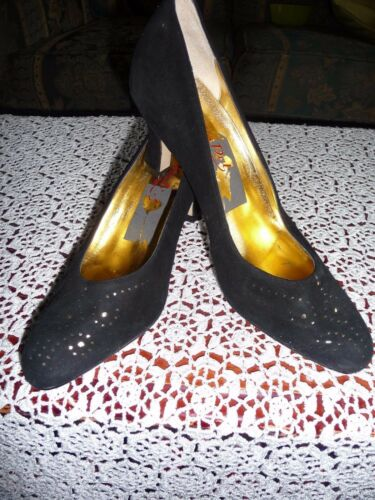 Black brand With Detail 2 5 Gold Evening New Size Toe Dal Suede 1 Shoes Van AqpZ5wH