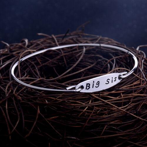 Inspiration Bangle Bracelet Leather Cord Jewelry Charm Big Mid Lit Sister Gift