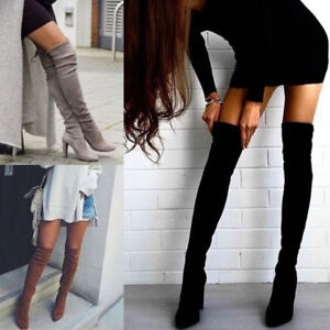 Women-Ladies-Thigh-High-Boots-Over-The-Knee-Party-Stretch-Block-Mid-Heel-Sized