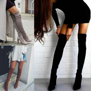 Womens-Lady-Thigh-High-Boots-Over-The-Knee-Party-Stretch-Block-Mid-Heel-Shoes-UK
