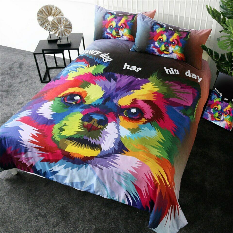 Rainbow Art Day Animal Pet Dog Double Single Quilt Duvet Pillow Cover Bed Set