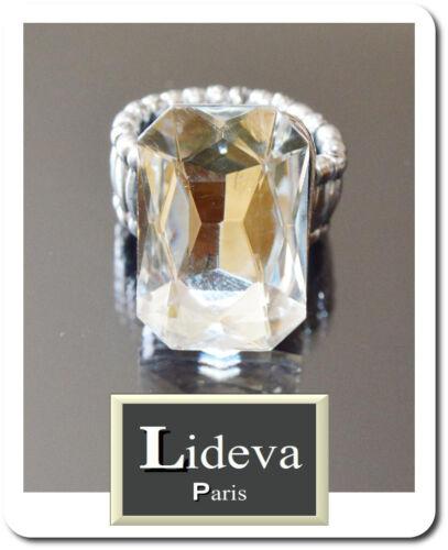 Anillo de lujo señora anillos dedo anillos cristal lideva Paris elástico claro//plata