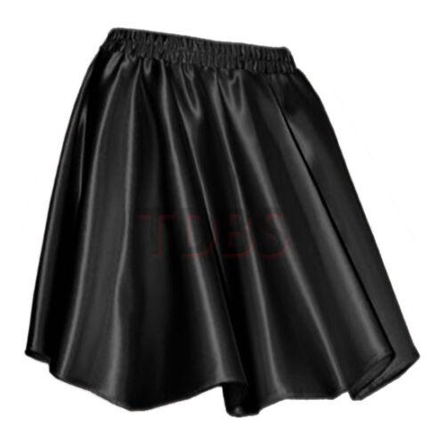 BLACKWomen Lady Satin Shiny Mini Skirt Pleated Retro High Waist Club S~3XL