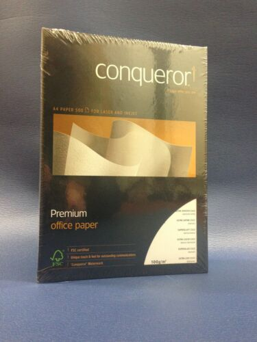 500 SHEETS 1 REAM 100GSM A4 CONQUEROR ULTRA SMOOTH DIAMOND WHITE PAPER FREE 24